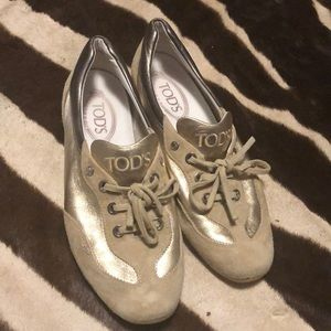 Gold 8 1/2 tod's sneakers
